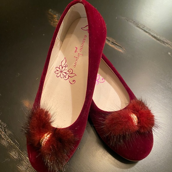 Nanette Lepore Other - New Nanette Lepore Velvet Fur Accent Girls Flats